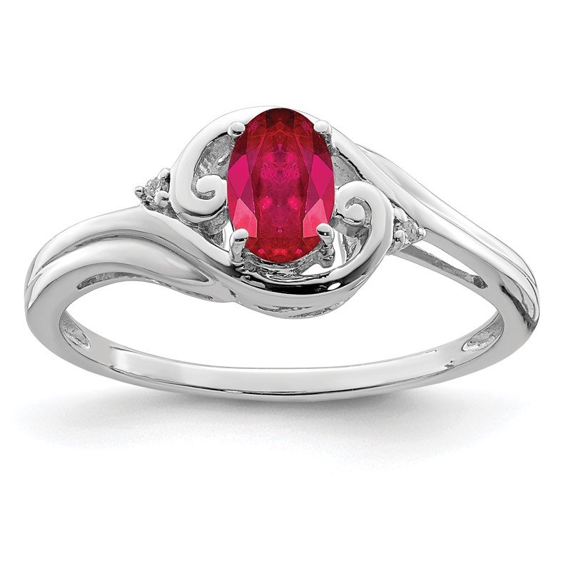Quality Gold Sterling Silver Rhodium Plated Diamond & Ruby Ring