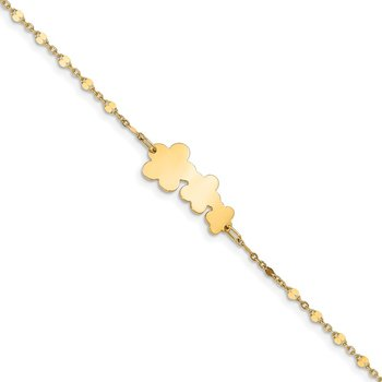 14K Children's Polished Flowers w/1 in ext. Bracelet