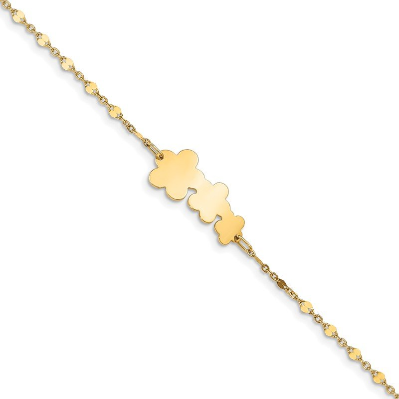 Quality Gold 14K Children's Polished Flowers w/1 in ext. Bracelet