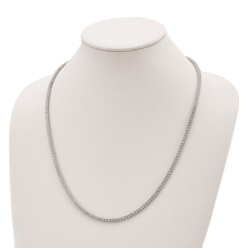 Quality Gold Sterling Silver Rhodium Plated CZ 24in Necklace