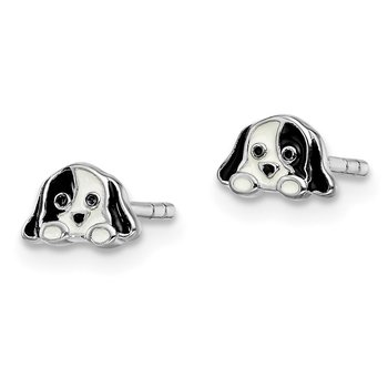 Sterling Silver Rhodium-plated Childs Enameled Puppy Post Earrings