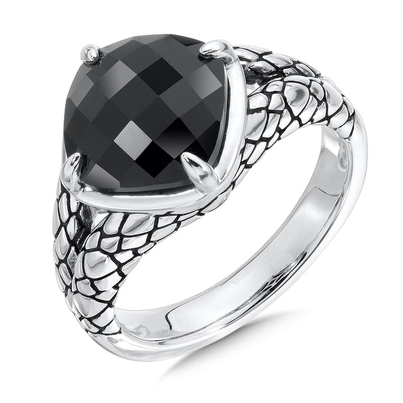 Sterling Silver Onyx Serpentine Ring