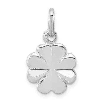 Sterling Silver Rhodium Plated Polished Clover Charm