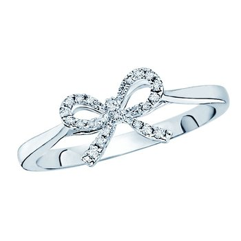 Diamond Mini Bow Ring in 14k White Gold with 22 Diamonds weighing .10ct tw.