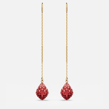 Fun Pierced Earrings, Red, Gold-tone plated