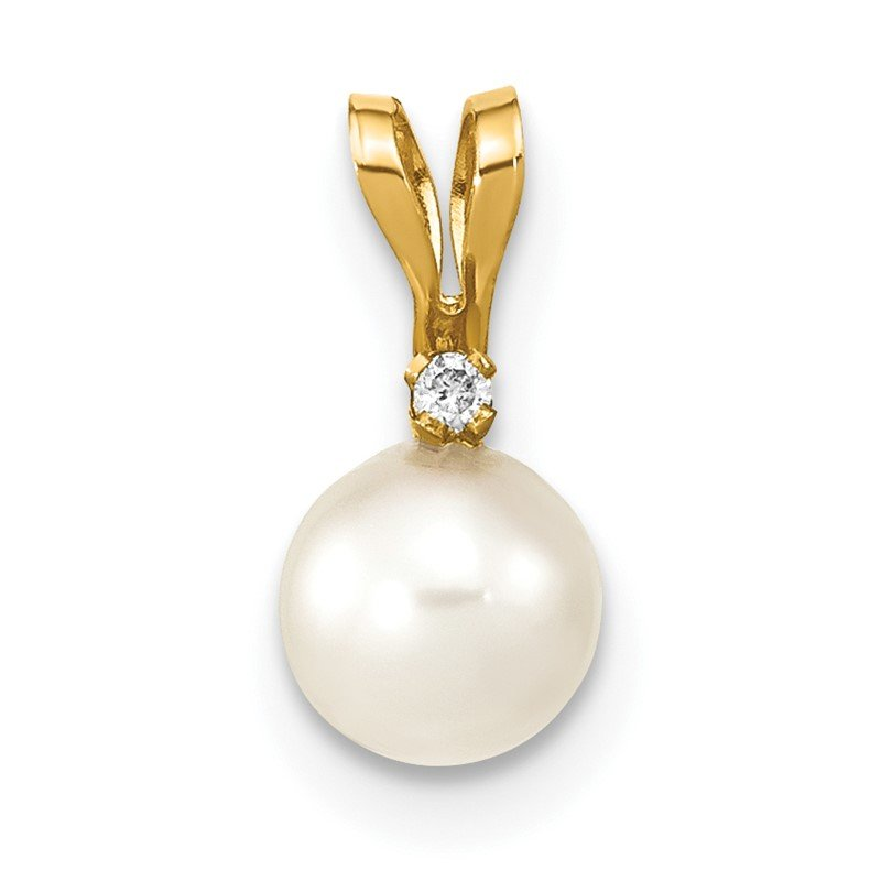 Quality Gold 14k 5-6mm Round White Saltwater Akoya Cultured Pearl Diamond Pendant