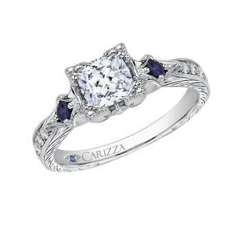 18K White Gold Cushion Cut Diamond Engagement Ring with Sapphire (Semi-Mount)
