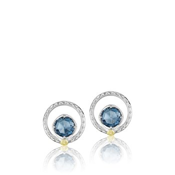 Silver Bloom Gem Studs featuring London Blue Topaz