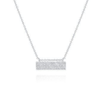 Diamond Bar Necklace Set in 14 Kt. Gold