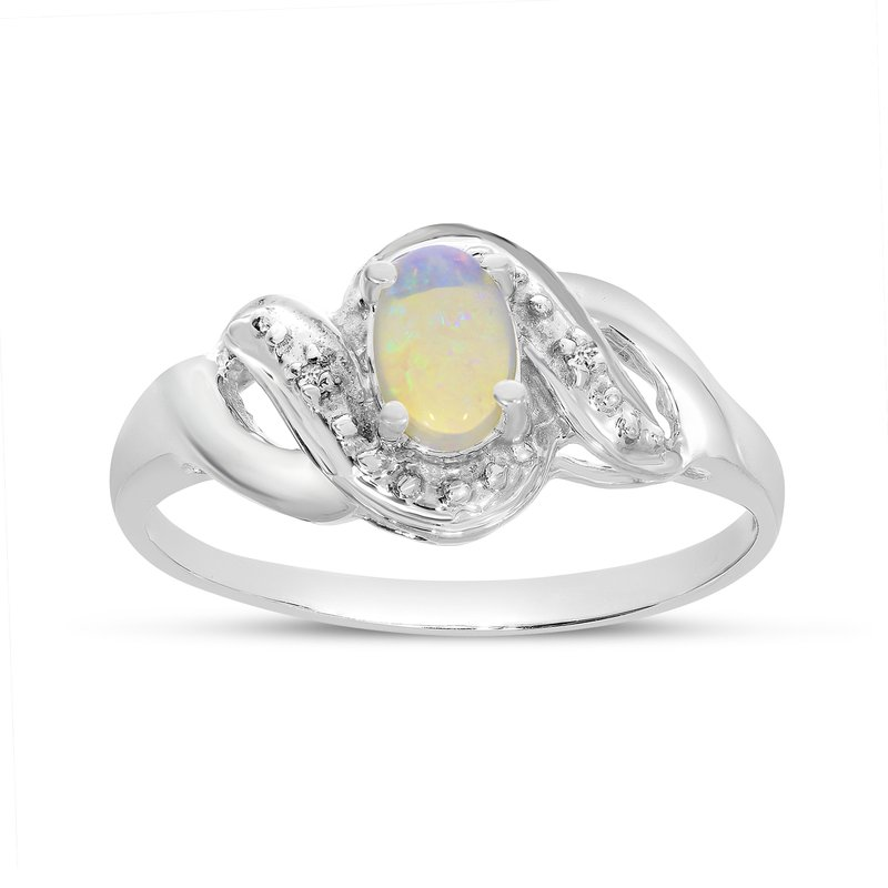 Color Merchants 14k White Gold Oval Opal And Diamond Swirl Ring