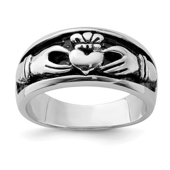 Sterling Silver Rhodium-plated Antiqued Claddagh Ring