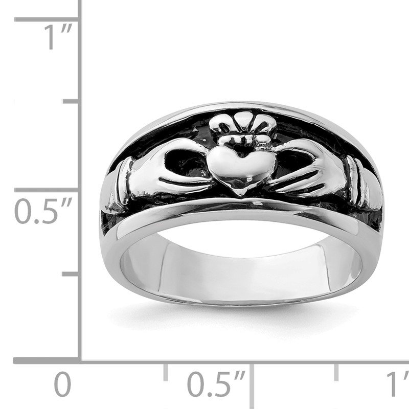 Quality Gold Sterling Silver Rhodium-plated Antiqued Claddagh Ring