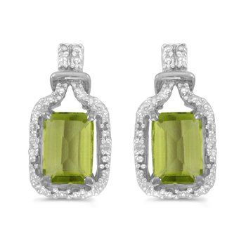 10k White Gold Emerald-cut Peridot And Diamond Earrings