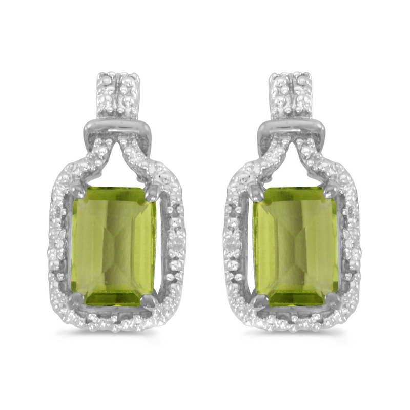 Color Merchants 10k White Gold Emerald-cut Peridot And Diamond Earrings