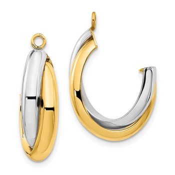 14k Two-tone Polished Double J-Hoop Earring Jackets