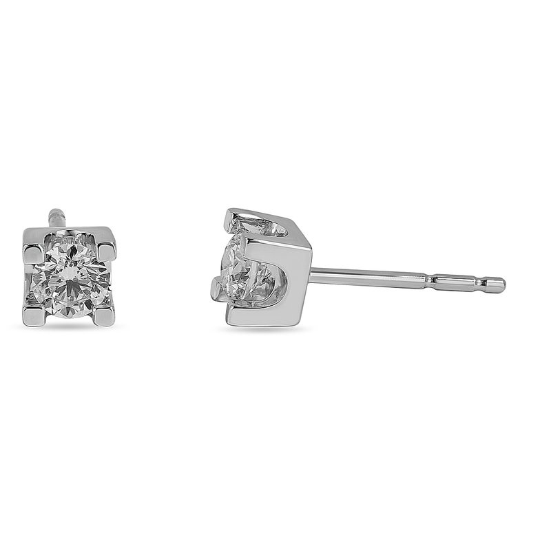 BB Impex 14K WG and diamond Stud earring in prong setting (0.25cts)