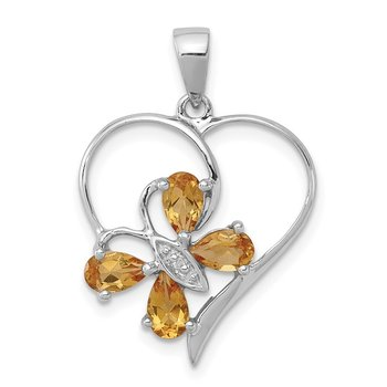 Sterling Silver Rhodium Citrine & Diamond Butterfly Heart Pendant