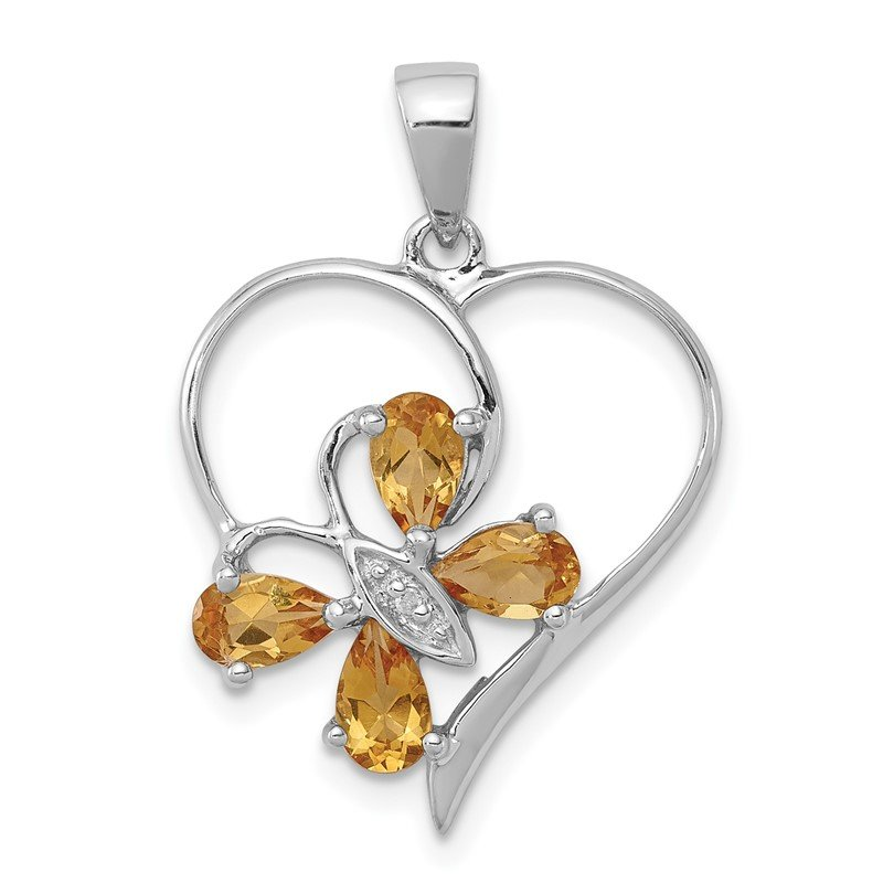 Quality Gold Sterling Silver Rhodium Citrine & Diamond Butterfly Heart Pendant
