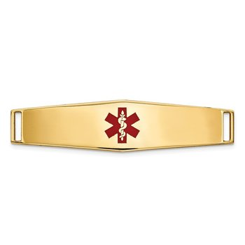 14K Epoxy Enameled Medical ID Ctr Soft Diamond Shape Plate # 819