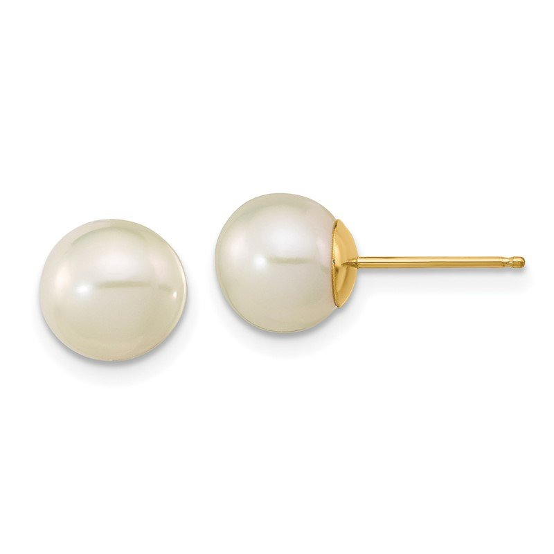 J.F. Kruse Signature Collection 14K Madi K 7-8mm White Round Freshwater Cultured Pearl Stud Post Earrings