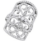 Gold-N-Diamonds 14kt White Gold Womens Round Diamond Vintage-style Knuckle Band Ring 1-3/4 Cttw