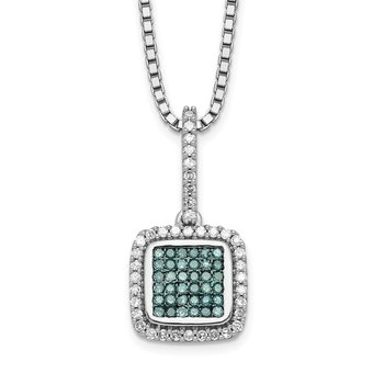 Sterling Silver Rhod Plated White/Blue Diamonds Square Pendant Necklace