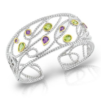 Sterling Silver and 14K/Y Amethyst and Peridot Cuff.