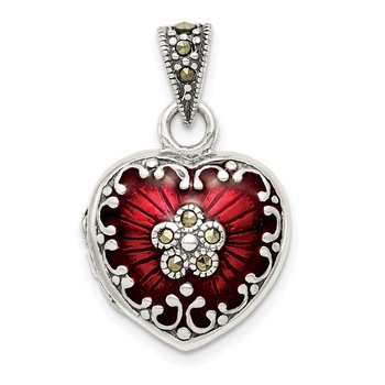 Sterling Silver Red Enamel & Marcasite Heart Locket