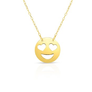14K Gold Heart Eyes Roymoji Necklace