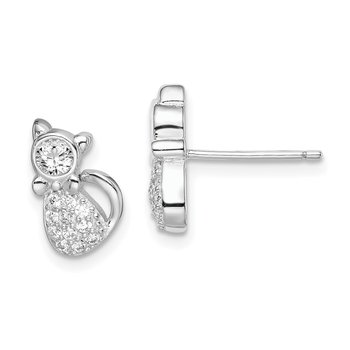 Sterling Silver Rhodium-plated Polished CZ Cat Post Earrings