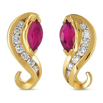 Ruby./ Diamond Earring