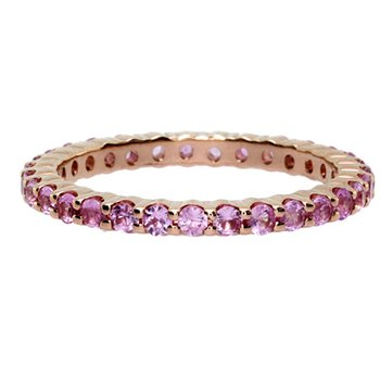 Pink Sapphire Stackable Ring in Yellow Gold