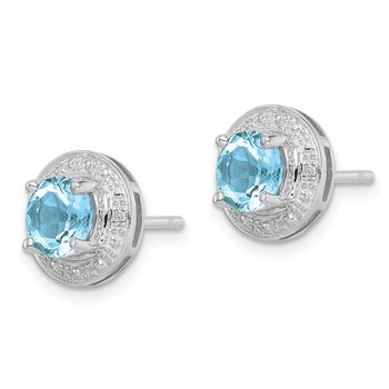 Sterling Silver Rhodium Plated Diamond & Light Swiss BT Post Earrings