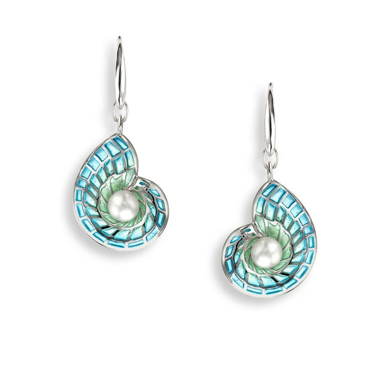 Nicole Barr Designs Blue Nautilus Wire Earrings.Sterling Silver-Freshwater Pearls - Plique-a-Jour