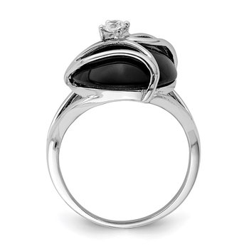 Sterling Silver Onyx & CZ Ring