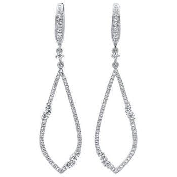 Open Teardrop Diamond Earrings in 14K White Gold (1/2 ct. tw.)