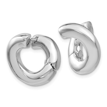Leslie's Sterling Silver Rhodium-plated Polished Hoop Earrings