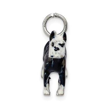 Sterling Silver Enameled Schnauzer Charm