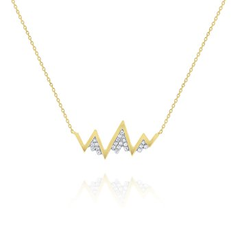 Diamond Zig Zag Mountain Necklace Set in 14 Kt. Gold