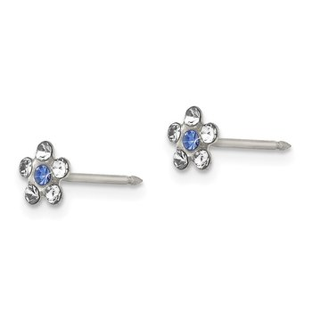 Inverness Stainless Steel Clear & Blue Crystal Post Flower Earrings