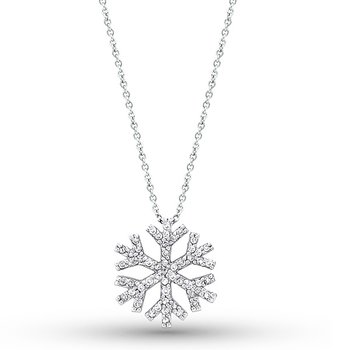 Diamond Snowflake Necklace in 14k White Gold with 55 Diamonds weighing .32ct tw.