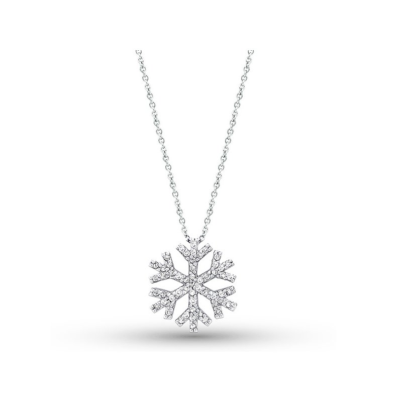 KC Designs Diamond Snowflake Necklace in 14k White Gold with 55 Diamonds weighing .32ct tw.