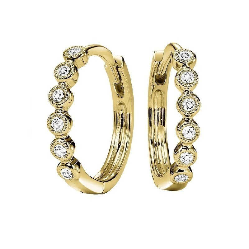 Gems One 10K Yellow Gold Mixable Prong Diamond Earrings 1/7CT