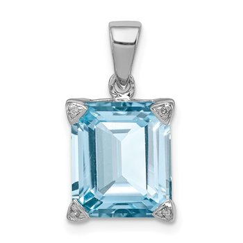 Sterling Silver Rhodium Light Swiss Blue Topaz Diamond Pendant