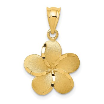 14k Diamond-cut Plumeria Pendant