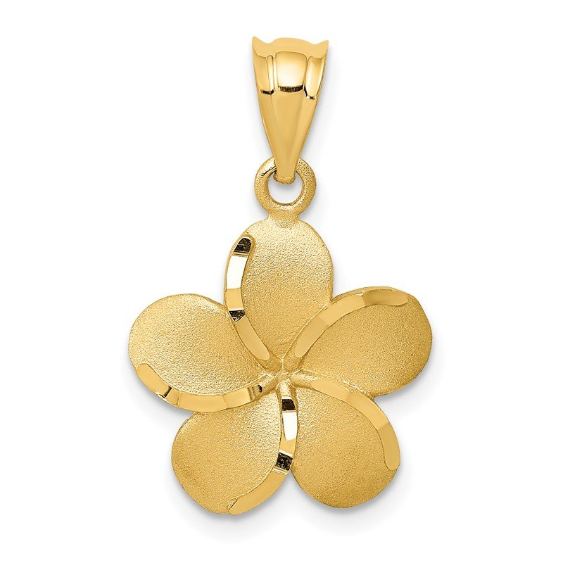 Quality Gold 14k Diamond-cut Plumeria Pendant