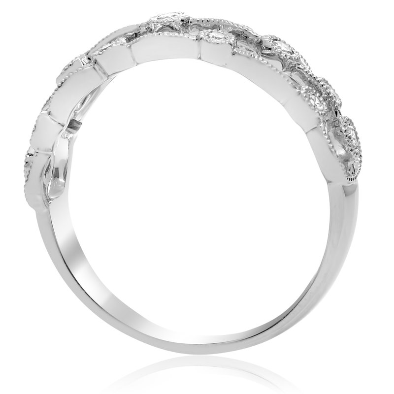 Roman & Jules Milgrain White Diamond Ring