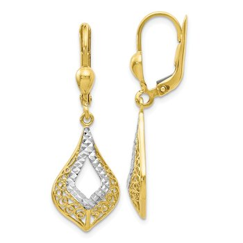 Leslie's 10k w/White Rhodium Diamond-cut Leverback Earrings