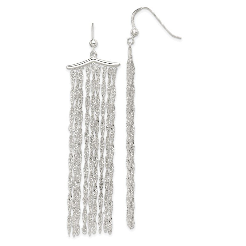Quality Gold Sterling Silver Multi-strand Rope Chain Dangle Earrings