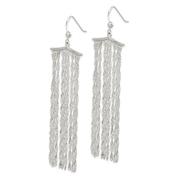 Sterling Silver Multi-strand Rope Chain Dangle Earrings